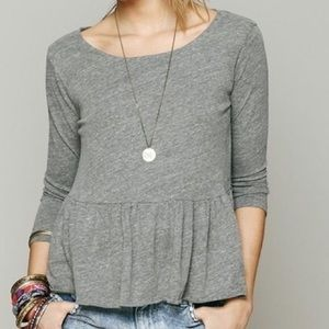 FREE PEOPLE WE THE FREE Gray Peplum Top